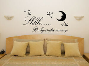 Shh Baby Dreaming Nursery Children's Bedroom Room Decal Wall Art Sticker Picture