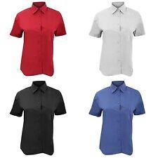 Women's Regular 100% Cotton Short Sleeve Sleeve Button Down Shirt Tops & Blouses