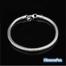 Women Girls  925 Sterling Silver Plated 3MM Snake Chain Bracelet Bangle Gifts