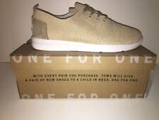 Toms Del Ray Sneaker Adult's Natural Burlap Canvas Lace Up Trainers New