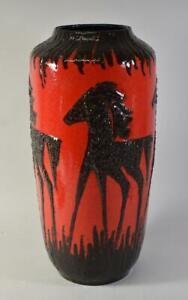 Vintage Art Deco Horse Vase Scheurich Fat Lava 517-45