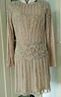 Missguided Peace and Love Backless Embellished Mini Dress size 14 Nude