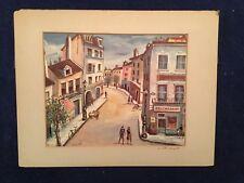 """Joseph Anthony Buzzelli """"Montmartre Paris"""" color lithograph  SIGNED 2X BY ARTIST"""