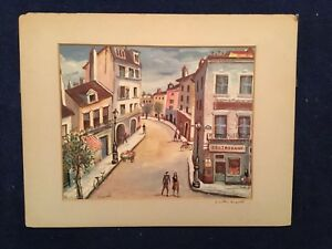 "Joseph Anthony Buzzelli ""Montmartre Paris"" color lithograph  SIGNED 2X BY ARTIST"