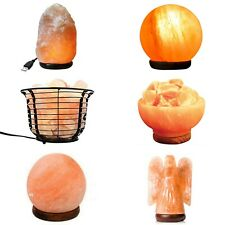HIMALAYAN CRYSTAL ROCK SALT LAMPS | USB Angel Dome Ball Sphere Basket Fire Bowl