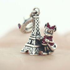 925 Sterling Silver Disne Minnie Mouse Eiffel Tower Dangle Fit European Charm