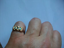 Damen Ring Gelbgold 585, 3 Steine Aquamarin, 18 mm Antik um 1920 Echt Gold Punze