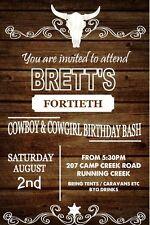 Invitation Boys Girls Adult Male Female Invite Birthday Party Western Cowboy