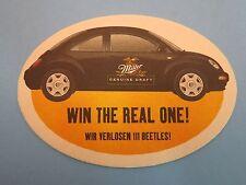 Beer Coaster >< MILLER Brewing ~ 1999 Win a Mini-Beetle or Volkswagon Beetle Bug