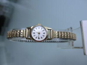 Damenarmbanduhr, 14K 585 Gelbgold, elastisches Armband