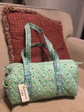 Americana By Sharif Green Quilted Cotton Duffle Style Bag  NWT WITH DEFECT