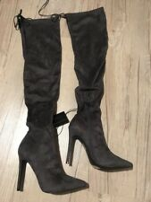 NWT FOREVER 21 Women's Thigh High 1/3 Zip Gray Boots - Size 8 - $44.90