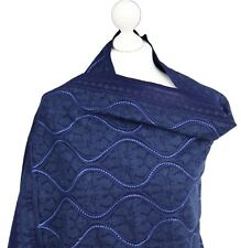 Navy Blue Sequins Indian Pashmina Hand Embroidered Wool Shawl Wrap Stole Hijab