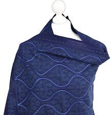 Navy Blue Paillettes indiano ricamato a mano PASHMINA lana scialle Wrap Stola Hijab