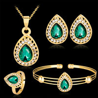 Women Water Drop Gold Plated Jewelry Set Necklace Bracelet Earrings Ring Fashion