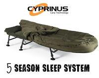 Cyprinus 6 leg Fishing Carp bed bedchair & 5 Season Sleeping bag sleep system
