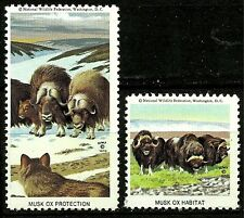 MUSK OX, NATIONAL WILDLIFE FEDERATION CINDERELLAS 1970, MNH, NICE SET OF 2