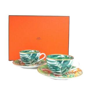 Hermes Passifolia Tea Cup Saucer Tableware 2 set Green Botanical Floral Auth New