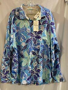 Tommy Bahama Linen Lassi Floral Leaf Hawaiian Shirt Long Sleeves XXL 2XL NWT !!!