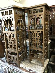 Boho 2 Rustic Decorative Carved Wood Tall Pedestals, Ornate Gilted table Stands
