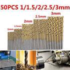 1/1.5/2/2.5/3MM 50pcs Titanium Coated HSS High Speed Steel Drill Bit Tool Set