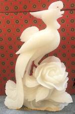 Natural China White Jade Carved fung-hwang phoenix Bird King Peony Flower Statue
