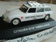 CITROEN ID 19 AMBULANCE BREAK IN SCATOLA PLEXI VETRINETTA 1/43° CROCE ROSSO FR