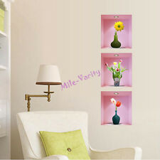 3D Wall Sticker Flower Vase Removable Mural Home Decal Living Room Decoration