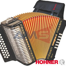 HOHNER CORONA II Classic 31 Button EAD Diatonic Accordion - Black + Bag, Straps