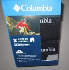 COLUMBIA~S 28 30~Men's 2 Pr Black / Gray Cotton Stretch Color Block Boxer Briefs