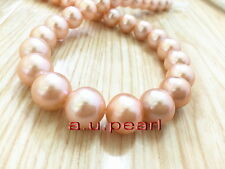 """AAAAA LUSTER 17""""13-15mm real NATURAL south sea gold pink pearl necklace 14K"""