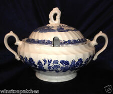 ROYAL WESSEX ENGLAND BLUE WILLOW TUREEN & LID SWIRLED LANDSCAPE SCENE