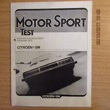CITROEN SM Motor Sport Magazine Road Test Reprint Brochure Article 1972