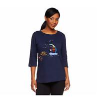 Quacker Factory Embellished Summertime 3/4 Sleeve T-shirt Navy XS A50731 QVC J