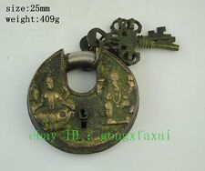 Chinese Ancient Palace Bronze Statue 2 Buddha Round Door Lock Unlocking Key b02