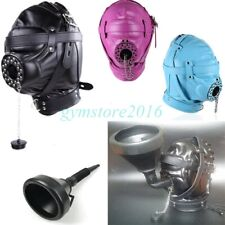 Funnel Head Hood Mouth Plug Gag Headgear Fluid Liquid Feeder Muzzle SM Game BDSM