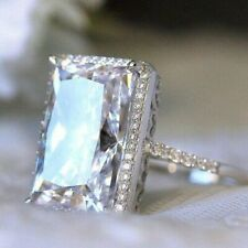 Ring With Band 925 Sterling Silver 4.16 Ct Radiant Cut Moissanite Engagement