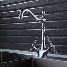 Antique Retro Silver 360° Swivel Basin Mixer Sink Bathroom Kitchen Laundry Tap