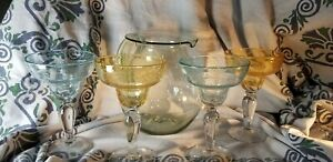 Gorgeous handblown margarita pitcher and 4 glasses set, clear, blue, yellow