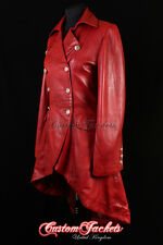 Ladies ENVY Red Victorian Military High Fashion Long Leather Jacket Tailcoat