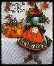 "Primitive Halloween PATTERN #328 Witch ~""BooMagda"" ~ Black Cat, Pumpkin Ornie"