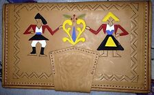 Hand Tooled Painted Leather Wallet Organizer Womens Vtg style Handmade Tan Queen
