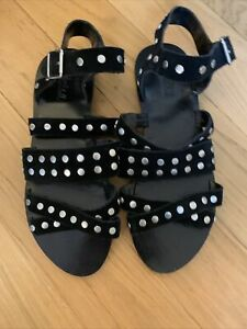 Loefler Randall Black Studded Strappy Sandals Size9/10
