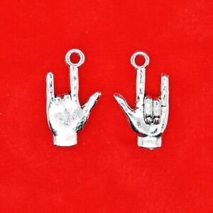 8 x Tibetan Silver 3D I LOVE YOU Sign Language Hand Gesture Heavy Metal Charm