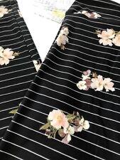 NWT LuLaRoe Os Black White Stripe Floral Iris Leggings HTF