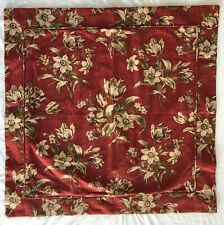 2 PEACOCK ALLEY Large Square Pillow Shams Deep Red Floral