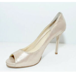 ENZO Angiolini Sz 8 1/2 Gold Nude heels PUMPS peep toe LEATHER Shimmer Maiven