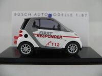 """Busch 46101 Smart Fortwo Coupé (2007) """"First Responder"""" in weiß 1:87/H0 NEU/OVP"""