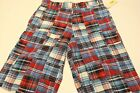 New NWT First Wave 20 Plaid Print Red White Blue Bermuda Shorts Patriotic July 4