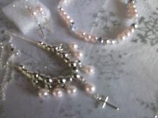 """STERLING sil * 16"""" trace chain, pinkpearl & Cross + bracelet/boucles doreilles/dans un box"""